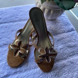 Rialto Sandals gold color with flower